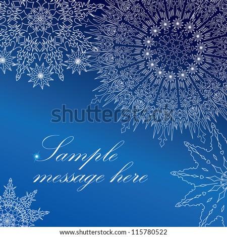 Snowflakes frame. Christmas greeting card, Vector. - stock vector