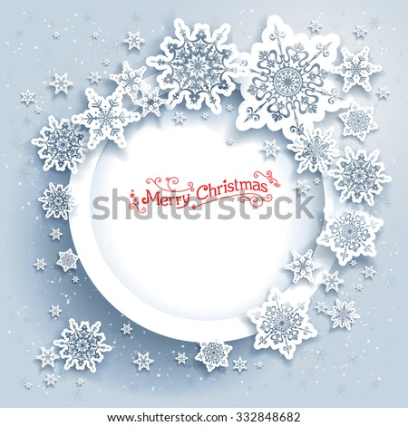 Snowflakes holiday frame. Winter holiday card for web, banner, invitation, leaflet and so on. Christmas background. - stock vector