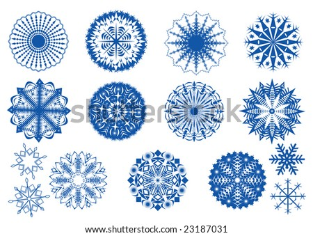 Snowflakes icon set. - stock vector