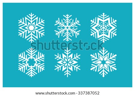 Snowflakes icons. Vector set of geometric symbols. Ice crystal.  - stock vector