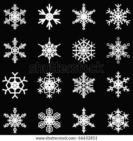 snowflakes illustrations, for christmas themed design elements. - stock vector