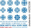 Snowflakes in pixel style (Vector). Christmas and New Year greetings 2011-2020 - stock vector