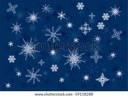 snowflakes on blue sky - stock vector