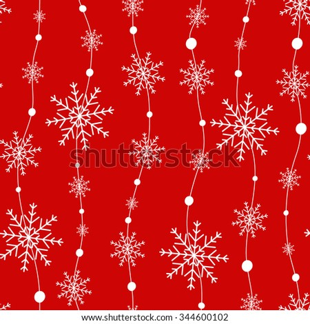 Snowflakes on red background. - stock vector