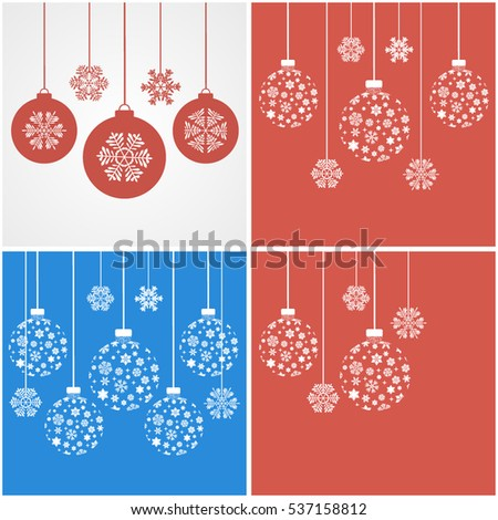 Snowflakes on red background. Snowflakes on a blue background. Christmas balls. Vector illustration. Christmas snowflakes. Fluffy snowflakes. Crystal snowflake.