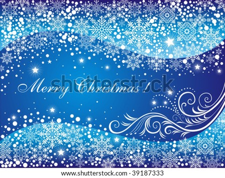 Snowflakes on the blue background. Xmas background.