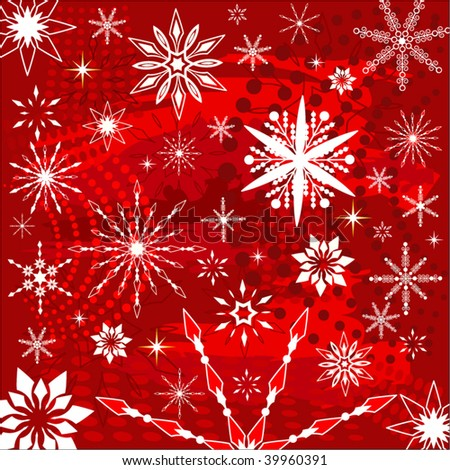 snowflakes over grunge in red - stock vector