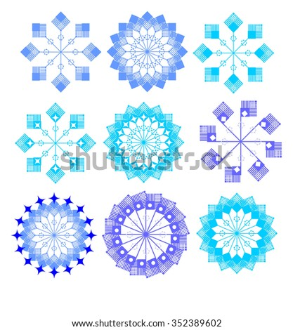 Snowflakes set. Background for winter and christmas theme. Vector - stock vector