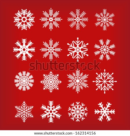 Snowflakes Set Red Background - stock vector