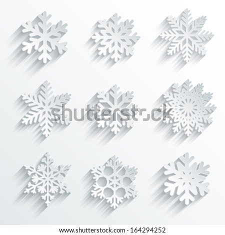 Snowflakes shape vector icon set. - stock vector