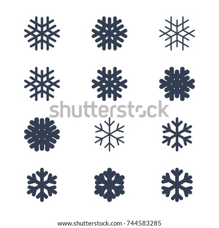 Snowflakes Signs Set Black Snowflake Icons Stock Vector Hd Royalty