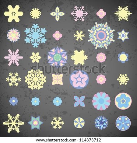 snowflakes stars vector illustration - stock vector
