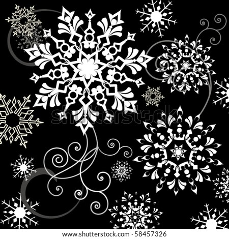 snowflakes variety - stock vector