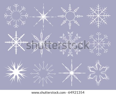 snowflakes - vector set - stock vector