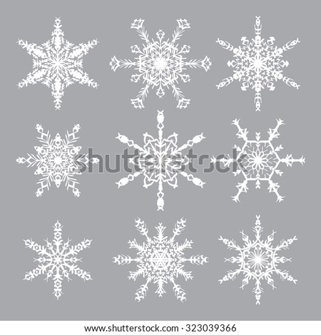 Snowflakes Vector Set. Snowflakes icons. White snowflakes on gray background.