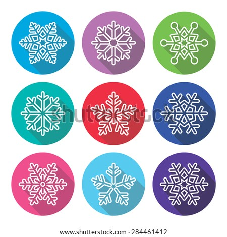 Snowflakes, winter flat design, long shadow icons set - stock vector