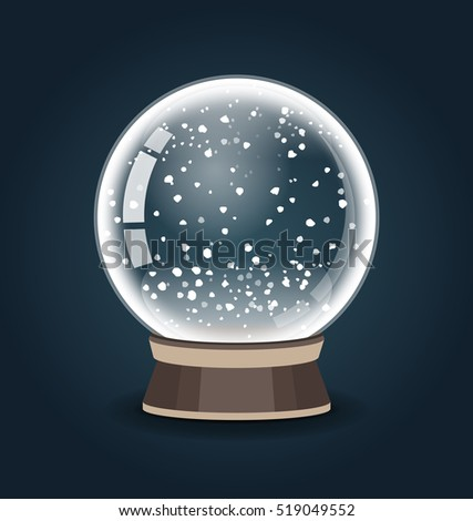 Snowglobe vector illustration. Empty snow globe. Crystal 3d Sphere. Transparent glass ball. New Year gift.