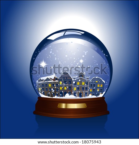 snowglobe with a small town inside - stock vector