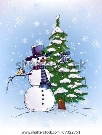 Snowman and bird holding Christmas gifts - stock vector