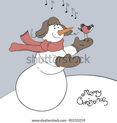 Snowman and his friend - bullfinch. Christmas illustration, vector, eps8. - stock vector