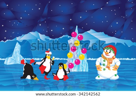 Snowman and penguins in the icy Arctic night