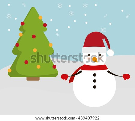 Snowman and pine tree cartoon icon. Merry Christmas design.