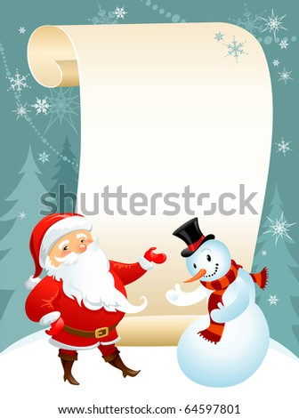 snowman and Santa - stock vector