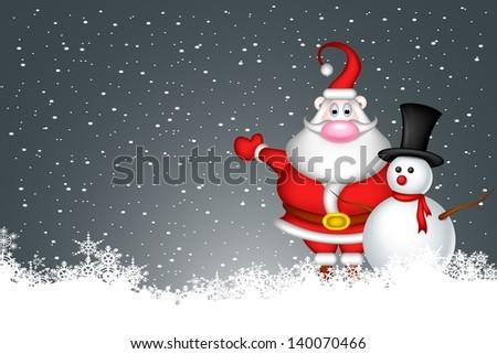 snowman and santa claus - stock vector