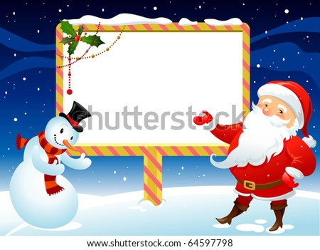 Snowman and Santa Claus with billboard for you message - stock vector