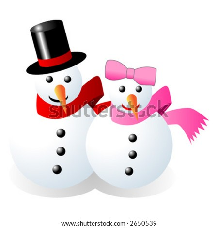 Snowman and snow woman over white background