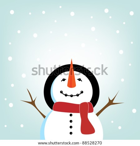 Snowman and snowflake - stock vector