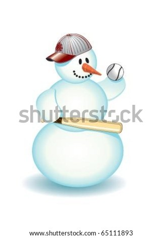 Snowman baseball - stock vector