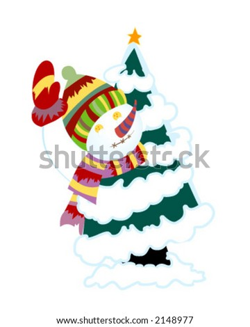 Snowman behind Tree - Vector - stock vector