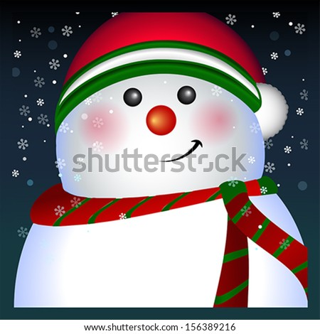 Snowman card, vector Merry Christmas and Happy New Year