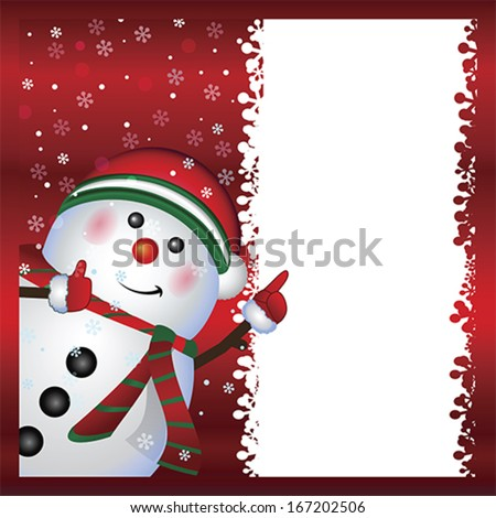 Snowman card , vector Merry Christmas and Happy New Year