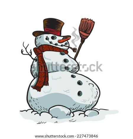 snowman cartoon illustration isolated on white - stock vector