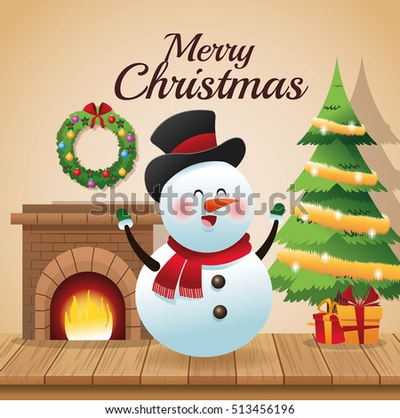 Snowman cartoon of Christmas season design