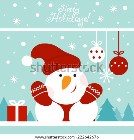 Snowman Christmas - stock vector