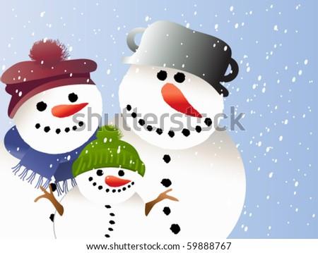 Snowman family - stock vector