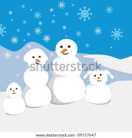 Snowman family on winter background - stock vector