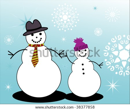 snowman father and kid - stock vector