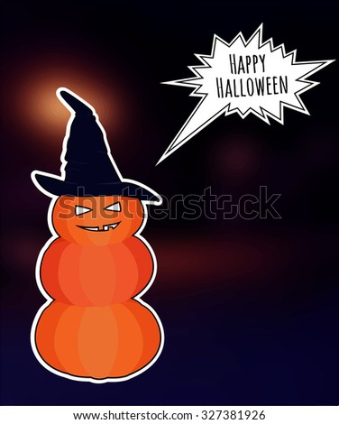 snowman from Halloween pumpkins on blurred background.  EPS10 - stock vector