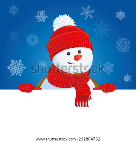snowman holding banner, Christmas greeting card template, vector illustration - stock vector