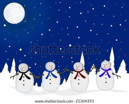 Snowman holding hands on Christmas night - stock vector