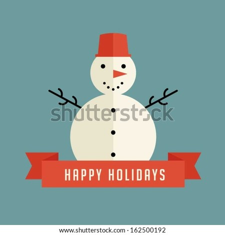 Snowman holiday greeting - stock vector