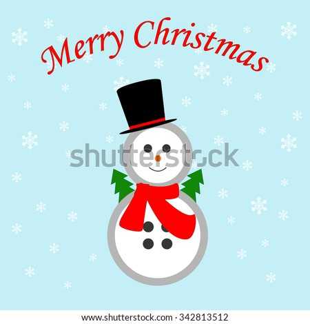 Snowman icon on the blue background. Vector illustration