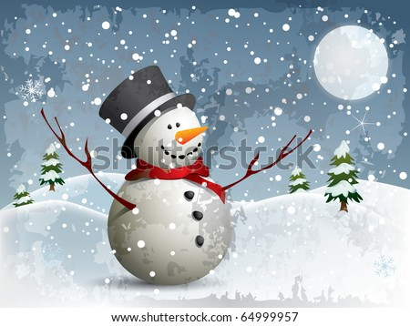 Snowman in a full moon night background - stock vector