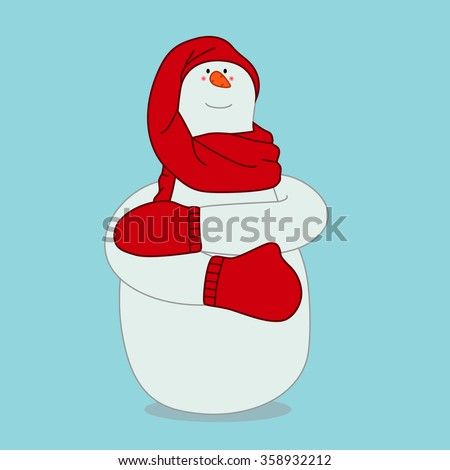 Snowman in a red scarf, hat and mittens on blue background. Christmas vector illustration - stock vector