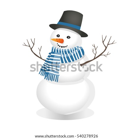 snowman in a top hat and red scarf. Winter figure of snow