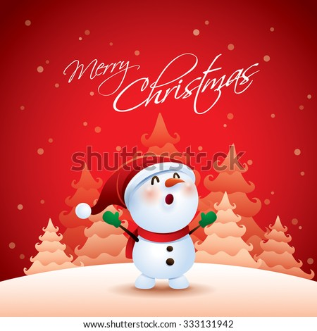 Snowman in Christmas snow scene - stock vector